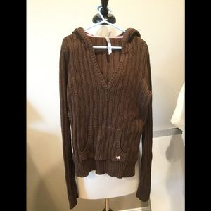 Girls v-neck sweater with hood